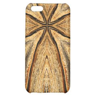 Caso de madera del iPhone de la cruz del grano