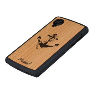 Caso de madera delgado del nexo 5 de AnchorsAway Funda De Nexus 5 Carved® Slim De Cerezo