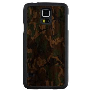 Caso de madera real de Camo del arbolado Funda De Galaxy S5 Slim Nogal