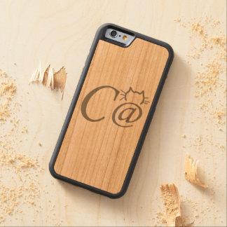Caso de madera real del iPhone del gato del Funda De iPhone 6 Bumper Cerezo