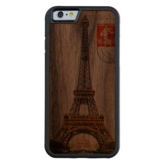 Caso de madera tallado torre Eiffel del iPhone 6 Funda De iPhone 6 Bumper Nogal