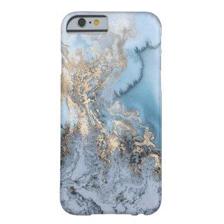 Caso de mármol azul claro y del oro del iPhone Funda Barely There iPhone 6