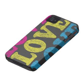 Caso de neón del iPhone 4 del amor Case-Mate iPhone 4 Funda