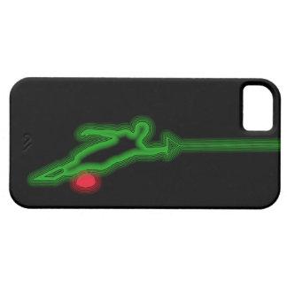 Caso de neón del iPhone 5 del verde del esquiador Funda Para iPhone 5 Barely There
