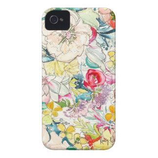 Caso de neón del iPhone de la flor de la acuarela Case-Mate iPhone 4 Protectores