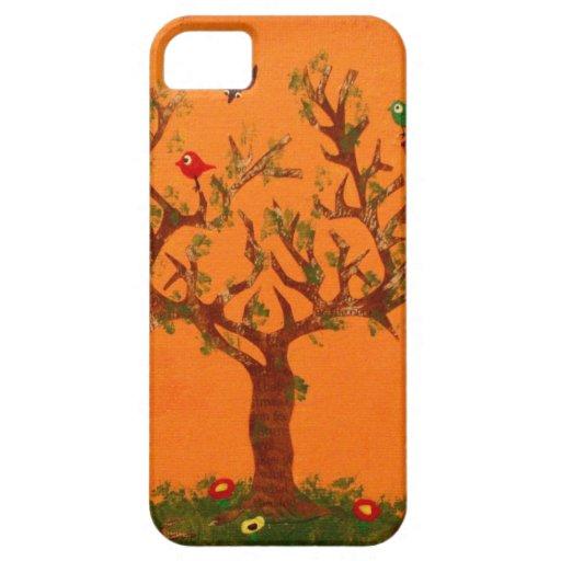 Caso de papel del iPhone 5 de los pájaros del árbo iPhone 5 Case-Mate Carcasa