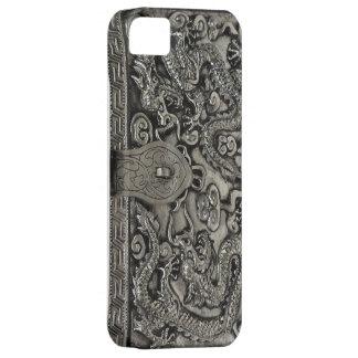 caso de plata antiguo del iphone 5 del dragón iPhone 5 Case-Mate funda