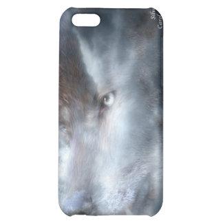 Caso de plata del arte del lobo para el iPhone 4