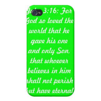 Caso de Speck® del teléfono del verde i del 3:16 d iPhone 4 Carcasa