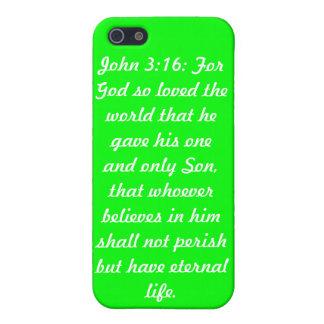 Caso de Speck® del teléfono del verde i del 3:16 d iPhone 5 Carcasas