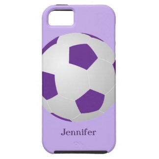 caso del ambiente del iPhone 5 5s fútbol púrpura iPhone 5 Protector