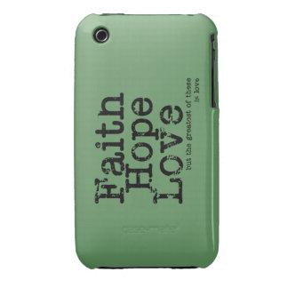 Caso del amor de la esperanza de la fe de Vntage Case-Mate iPhone 3 Cárcasa