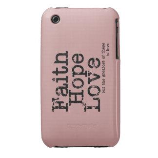 Caso del amor de la esperanza de la fe de Vntage Case-Mate iPhone 3 Carcasas