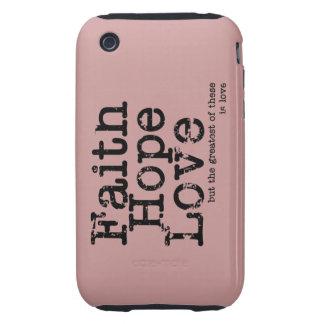 Caso del amor de la esperanza de la fe del vintage tough iPhone 3 fundas