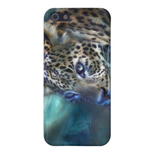 Caso del arte de la luna del leopardo para el iPho iPhone 5 Fundas