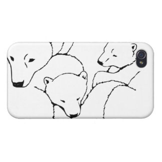 Caso del arte de los gemelos del oso del caso del iPhone 4/4S fundas