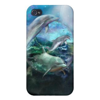 Caso del arte de tres delfínes para el iPhone 4 iPhone 4 Cobertura
