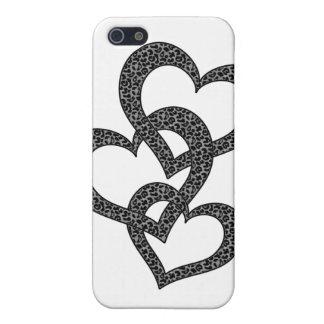 Caso del corazón del estampado leopardo iPhone 5 fundas