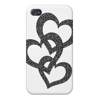 Caso del corazón del estampado leopardo iPhone 4/4S carcasas