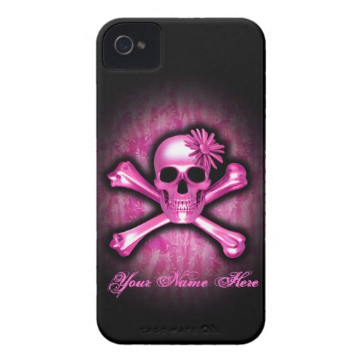 Caso del cromo del iPhone azul 4 del cráneo y de iPhone 4 Protector