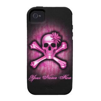 Caso del cromo del iPhone rosado 4 del cráneo y de Vibe iPhone 4 Fundas