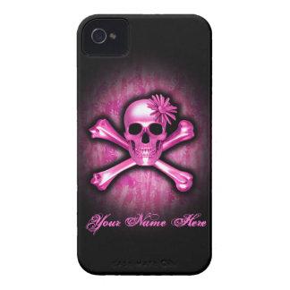 Caso del cromo del iPhone rosado 4 del cráneo y de Funda Para iPhone 4 De Case-Mate