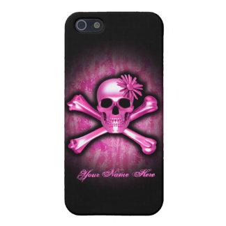Caso del cromo del iPhone rosado 5C del cráneo y iPhone 5 Carcasa