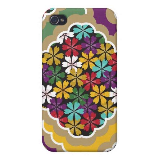 Caso del estampado de flores iPhone4 de la margari iPhone 4/4S Carcasa