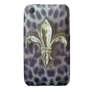 Caso del estampado leopardo de la flor de lis iPhone 3 Case-Mate carcasas