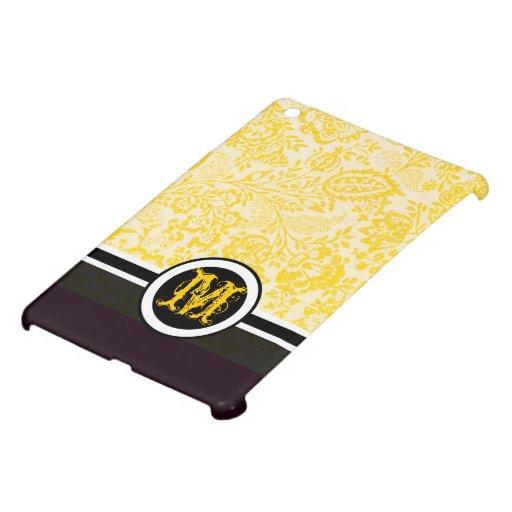 Caso del iPad amarillo floral del damasco del mono iPad Mini Carcasas