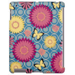 Caso del iPad amarillo y rosado de las flores y de