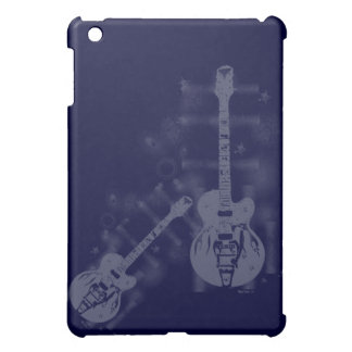 Caso del iPad azul gráfico de la guitarra mini