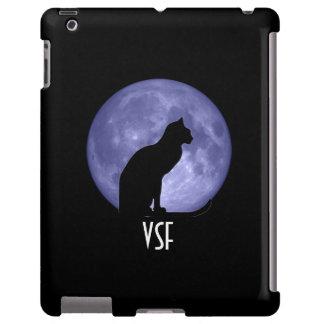 Caso del iPad de la luna azul del gato negro