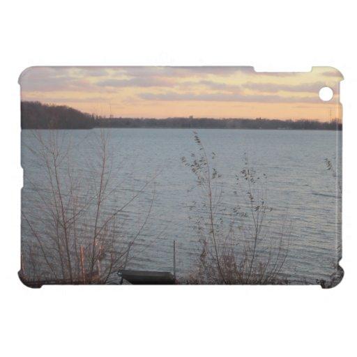 Caso del iPad de la puesta del sol de la orilla de