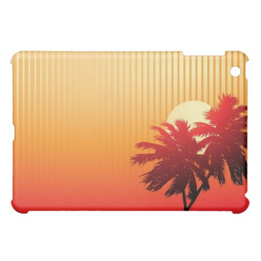 Caso del iPad de la puesta del sol y de las palmer