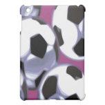 Caso del iPad de los balones de fútbol (fondo púrp