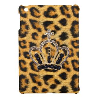 Caso del iPad de princesa Crown Leopard Fur mini