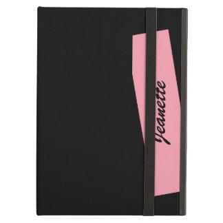 Caso del iPad del iCase de Powis, negro rosado