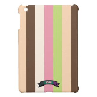 Caso del iPad del modelo de la raya del color crem iPad Mini Protectores