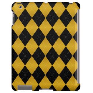 Caso del iPad del Negro-Oro de Argyle