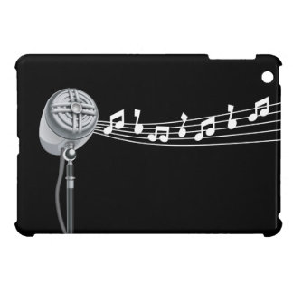 Caso del iPad negro del Mic retro y de las notas m