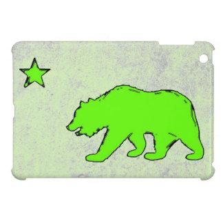 Caso del ipad verde de neón del oso de la bandera  iPad mini carcasas