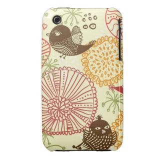 caso del iphone 3 de los pájaros del doodle iPhone 3 protectores