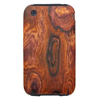 Caso del iPhone 3 del final de Cocobolo (madera) Tough iPhone 3 Cárcasa