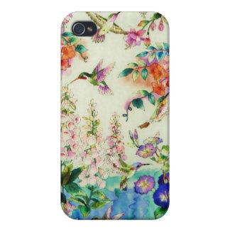 Caso del iPhone 3G de los colibríes y de las flore iPhone 4 Cárcasas