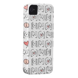 Caso del iPhone 4/4s de los corazones de la cámara iPhone 4 Cárcasa