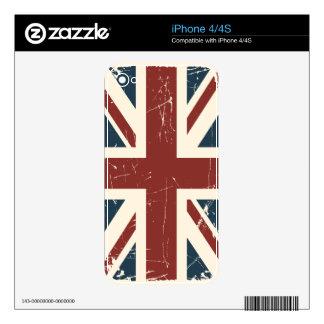 Caso del iPhone 4/4S de Union Jack del Grunge Calcomanía Para iPhone 4S