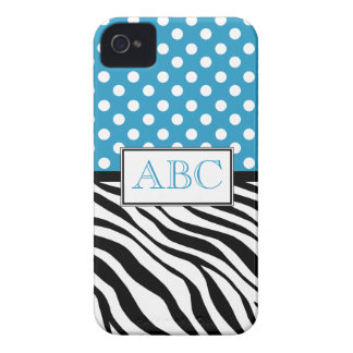 Caso del iPhone 4 4S del azul y del estampado de z iPhone 4 Case-Mate Cárcasas