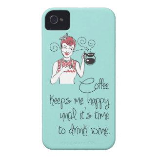 Caso del iPhone 4/4S del café y del vino del vinta iPhone 4 Protectores