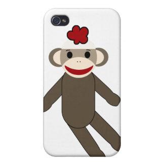 caso del iphone 4/4s del mono del calcetín iPhone 4 carcasas